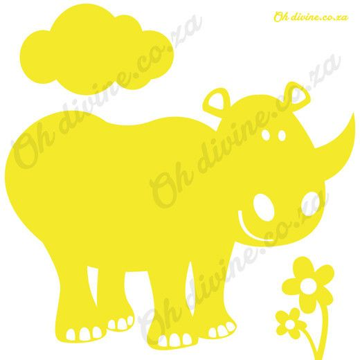 Our Rhino is safe from all the poachers! Order this easy to apply and remove wall decal in the colour of your choice.