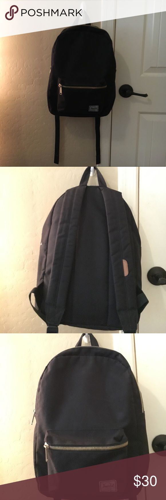 Herschel gold zipper black backpack Herschel black backpack, gold zippers. Normal backpack size. Lightly used, a little worn out front pocket, no rips/ tears. Good condition, all zippers on. No parts missing. Herschel Supply Company Bags Backpacks