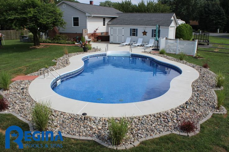 Mountain Pond Shaped Vinyl Liner Swimming Pool Located In