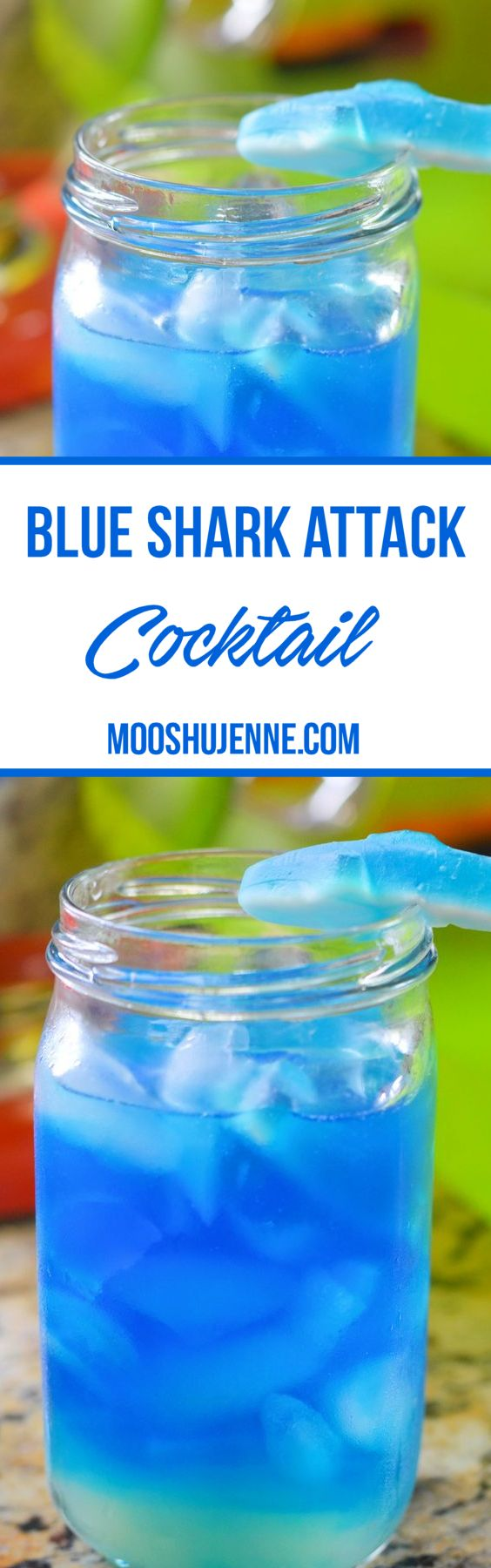 Blue shark attack cocktail contains rum, pineapple juice, blue curacao, and gummy sharks.