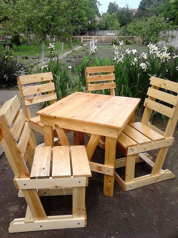 #Garden, #Outdoor, #PalletChair, #PalletGardenSet, #PalletTable, #RecyclingWoodPallets My Pallet Wood Garden Dining Set has 4 chairs and a table just the right size for fun lunches with the family or intimate evening dining for two.  Pallet Wood Garden Dining Set dimensions: The chairs are 100cm tall x 45cm wide and 46cm deep. The