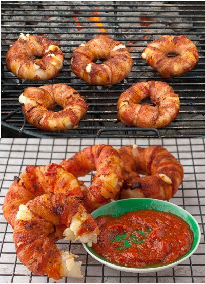 Bacon-wrapped Pineapple Mozzarella Rings, heaven in a small bacon-wrapped ring.