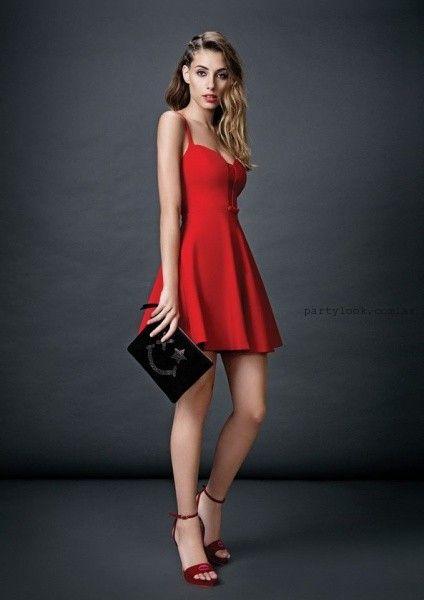 vestido corto rojo a lunares Las Oreiro otoño invierno 2015