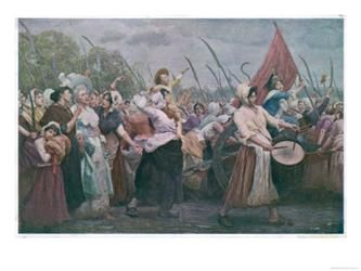Women's March on Versaille, 1789. One of the most significant events of French revolution. Began among women in the marketplaces of Paris rioting over the high price of bread. The market women grew into a mob of over 6000. They ransacked the city armory for weapons and marched to the Palace of Versailles. Besieged and attacked the palace. Compelled the king, his family, and most of the French Assembly to return with them to Paris.  The march effectively ended the King's independent…