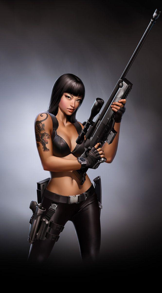 Jurasic Hunter. Sniper Girl. by javieralcalde on deviantART