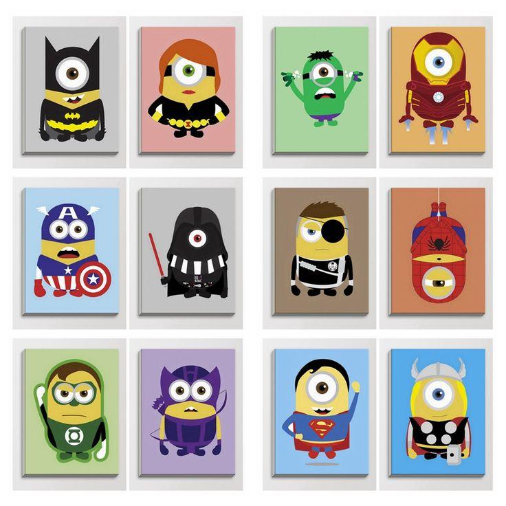 Anime Game Minion Hero Iron Man Yellow Pop Cartoon Movie Poster Print Kids Room Wall Art Decor Wood Framed Canvas Painting