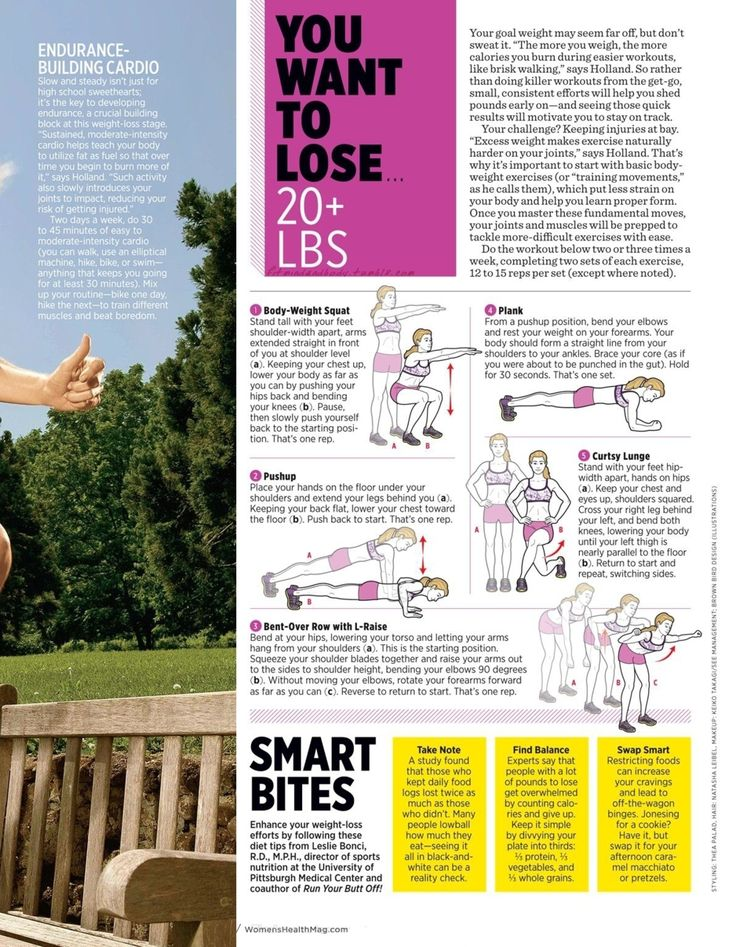Women's Health:  Body-weight squat, pushups, bent-over row with l-raise, plank, curtsy lunge