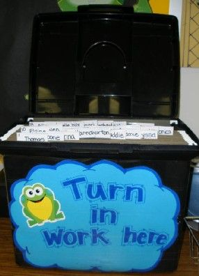 turn in tub (files with each child's name)