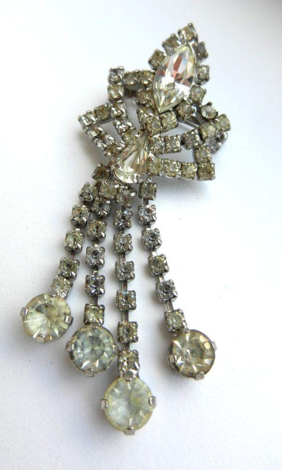 Lovely Brilliance Vintage clear Diamante dangle by RAKcreations