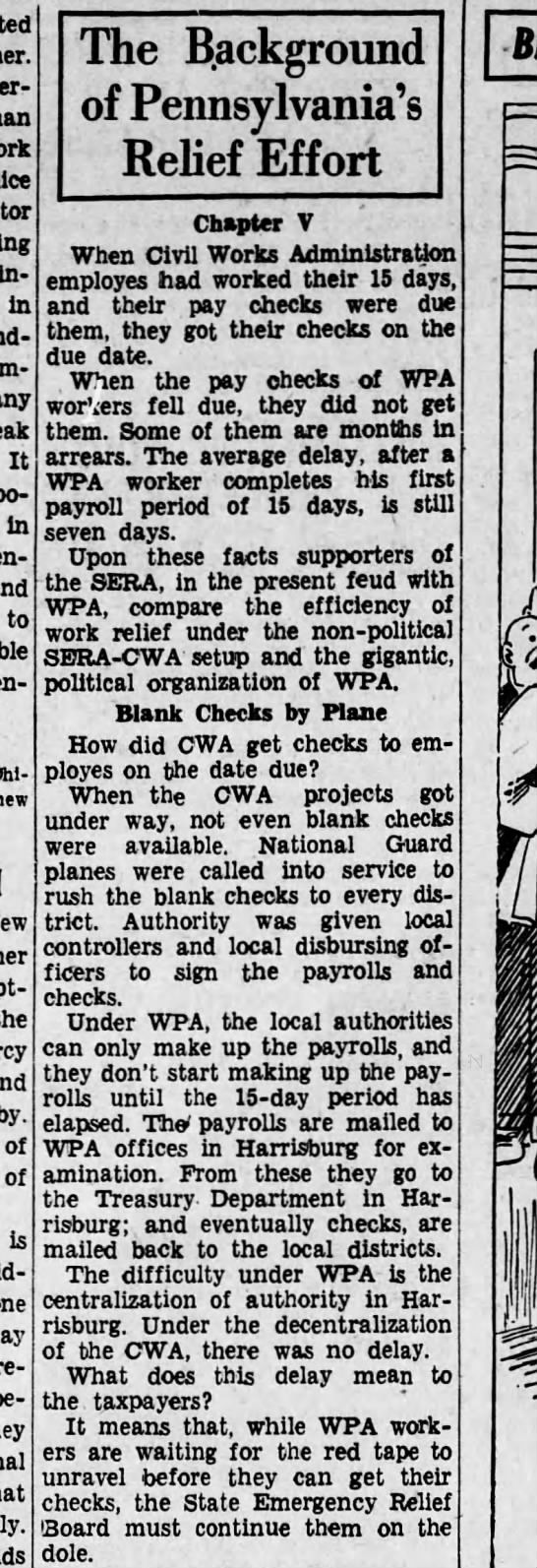 Found in Harrisburg Telegraph in Harrisburg, Pennsylvania on Fri, Dec 27, 1935. 1935 WPA   Civil Works Administration employees