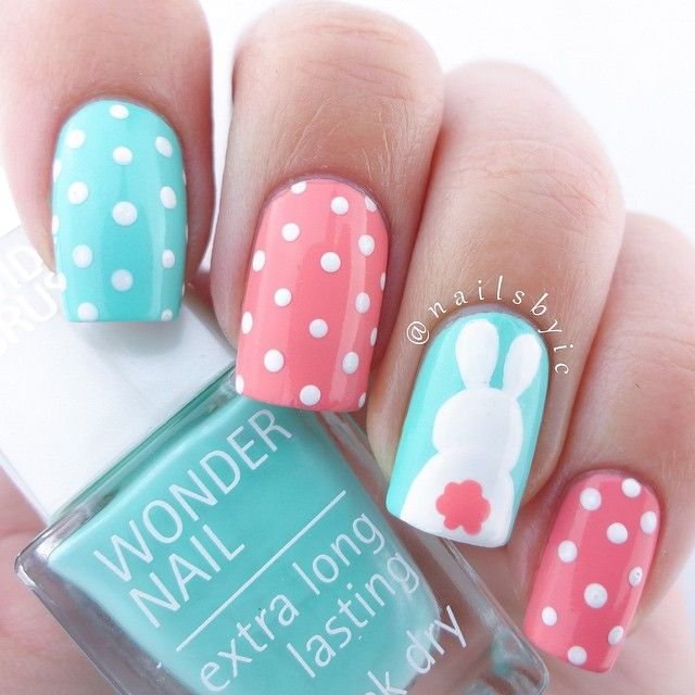 Did you paint your nails for Easter yet?  If not, this mani is super easy! I'll post a pictorial later  I used @isadoraofficial 'Shell Pink', 'Ocean Dive' and 'Plain White'. I've seen this bunny design everywhere lately and I have unfortunately no idea who to credit