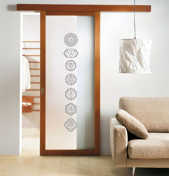 for the door to meditation room......Medium Chakra Symbol Set of 7 Yoga Decals for by ZestyGraphics