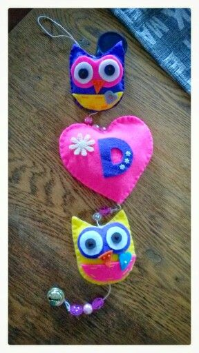 Felt owl and heart