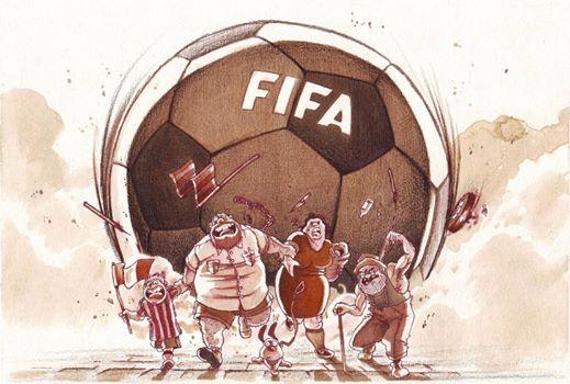 """FIFA"" Watercolor illustration. #stefanotamiazzo #tamiazzo #soccer #cartoon #illustration"
