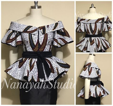 AYAESI African Print Off-Shoulder Peplum Top. Front Zipper. Obi Sash. Handmade. Women