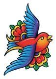 Classic Vintage Bird Tattoo