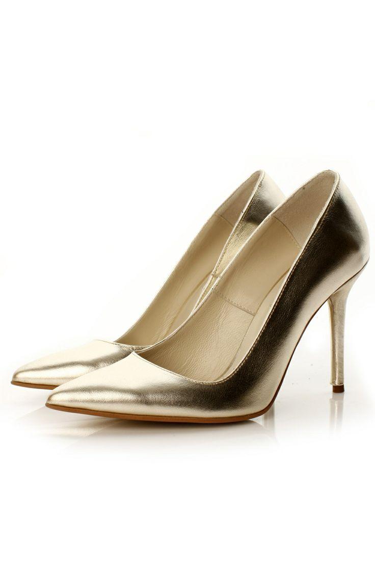 Pantofi stiletto piele aurie