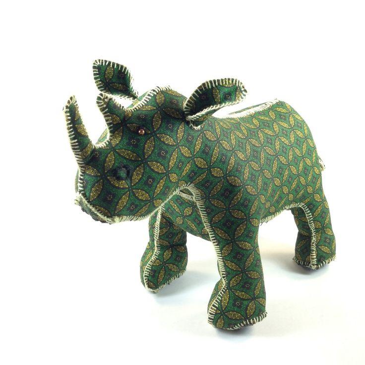 100% Handmade Rhino- Shweshwe Fabric Elephants - Teddy Bears - Giraffes too Check em out! ProjectZA.com #worldrhinoday