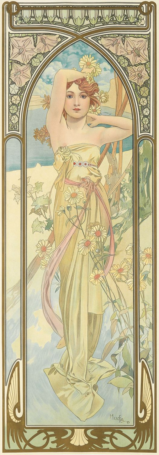 'Eclat du Jour' (Day Break) from the Times of Day series. (1889) - Alphonse Mucha (1860-1939)