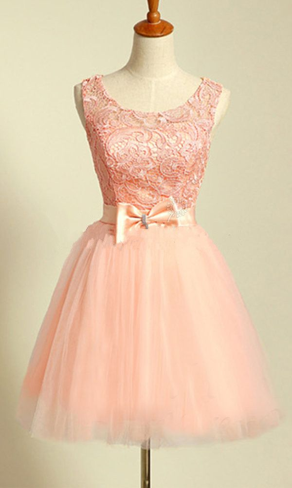 Scoop Neck Short Tulle Homecoming Dresses with Lace Lovely Party Dresses