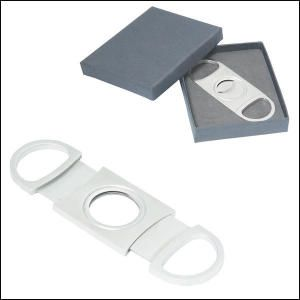 Cigar Cutter. This cigar cutter makes for a unique corporate gift. It is made from Stainless Steel and has a double bladed guillotine that provides a straight cut and leaves a clean edge for an even burn. Individually gift boxed.
