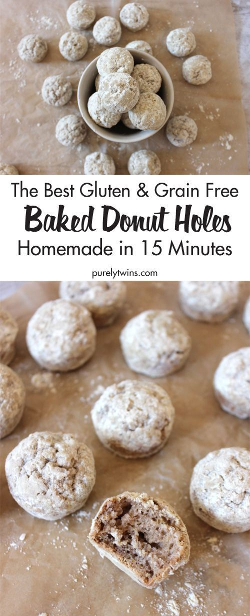 Skip the bakery because these baked not fried donuts are made in a mini muffin pan. They are so easy in 15 minutes you have yourself light and chewy gluten-free and grain-free baked donut holes covered a protein powdered sugar! These will become a breakfast staple in your house like it is in ours. The best baked donut hole recipe.
