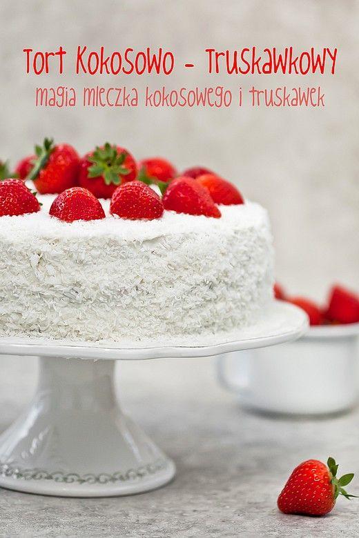 Tort kokosowo - truskawkowy