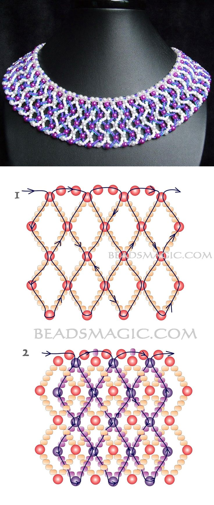 Free pattern for necklace Lia pearl beads 2-3 mm seed beads 11/0