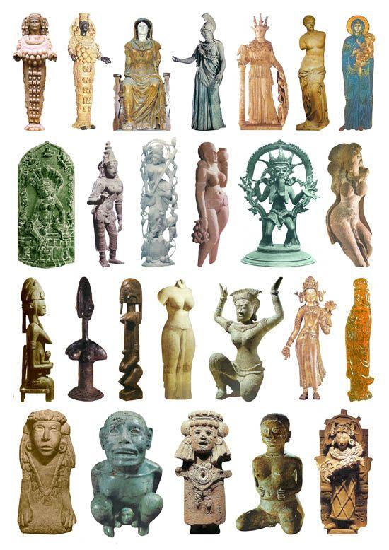 25 Goddess Sculptures, Modern Mix