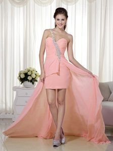 Peach Pink One Shoulder High-low Prom Dress in Chiffon with Beading