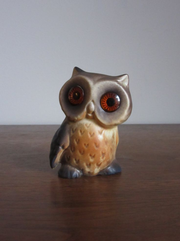 Vintage Roselane Owl, California, Sparkler Eyes, Matte Brown & Orange, Pottery Owl Figurine, Retro Owls,Owl Kitsch,Roselane Owl,1970's Decor by BarefootAndCivil on Etsy