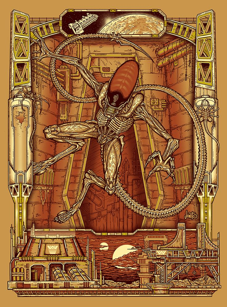 "kogaionon: ""Alien, Aliens & Alien 3 by Jon Sanchez / Facebook / Twitter / Tumblr / Instagram / Store 17"" x 23"" 4 color screen prints with metallic inks, signed & numbered limited editions. Available..."