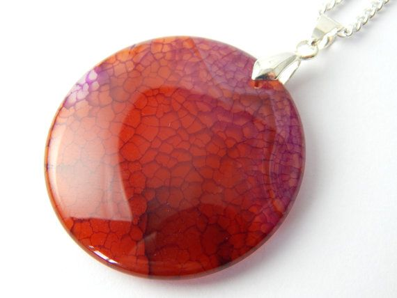 Agate Necklace  Orange Red Pendant  Natural by BitsAndBojangles
