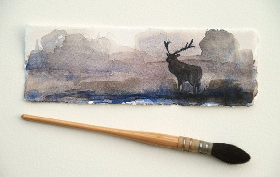 Original watercolor, original bookmark, small gift, gift of mothers, painting of a landscape with a deer, watercolor of a landscape