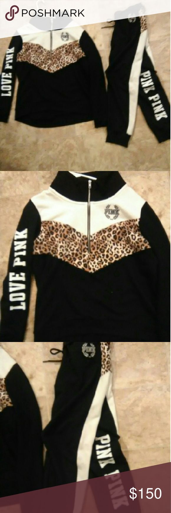 Victoria secret PINK cheetah outfit WILL ONLY TRADE FOR ANOTHER OUTFIT OR COUPLE HOODIES/CREWS/SWEATERS Size medium Still has the tags PINK Victoria's Secret Sweaters