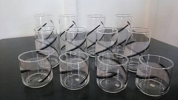 Check out this item in my Etsy shop https://www.etsy.com/listing/278641160/1980s-black-and-white-drinking-glasses