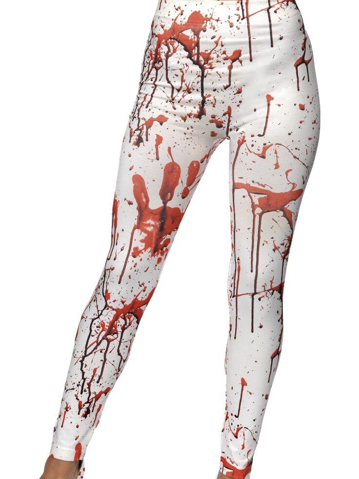 Zombie-legginsit. Valkoiset joustavat legginsit ovat verentahrimat, joten näyttää siltä että nämä jalassa on käyty melkoisia taisteluita. Legginsit ovat standardikokoiset ja joustavan materiaalin ansioista käyvät hyvin useimpien hulluttelijoiden päälle.
