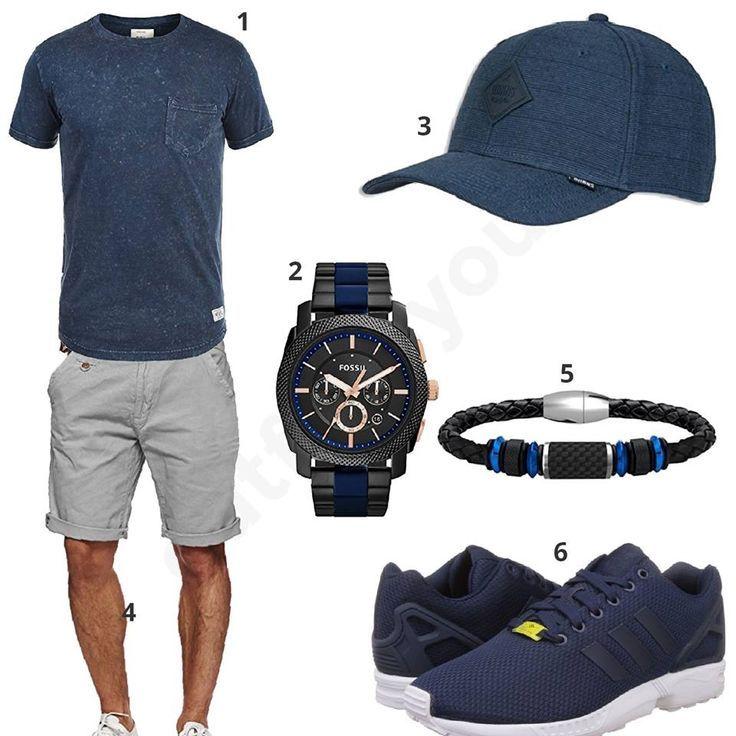 Sommer-Outfit für Herren mit Redefined Rebel Shirt, Fossil Armbanduhr, Coolman