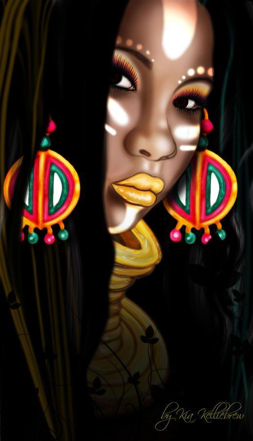 african asian art | African Princess Digital Art