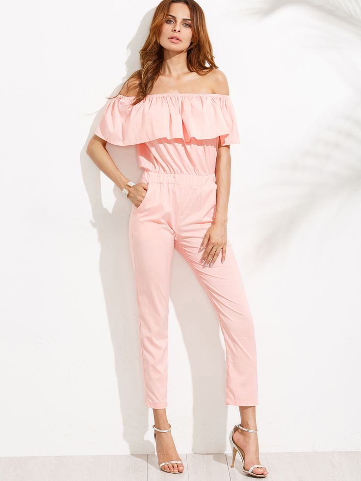 Shop Pink Off The Shoulder Ruffle Jumpsuit online. SheIn offers Pink Off The Shoulder Ruffle Jumpsuit & more to fit your fashionable needs.