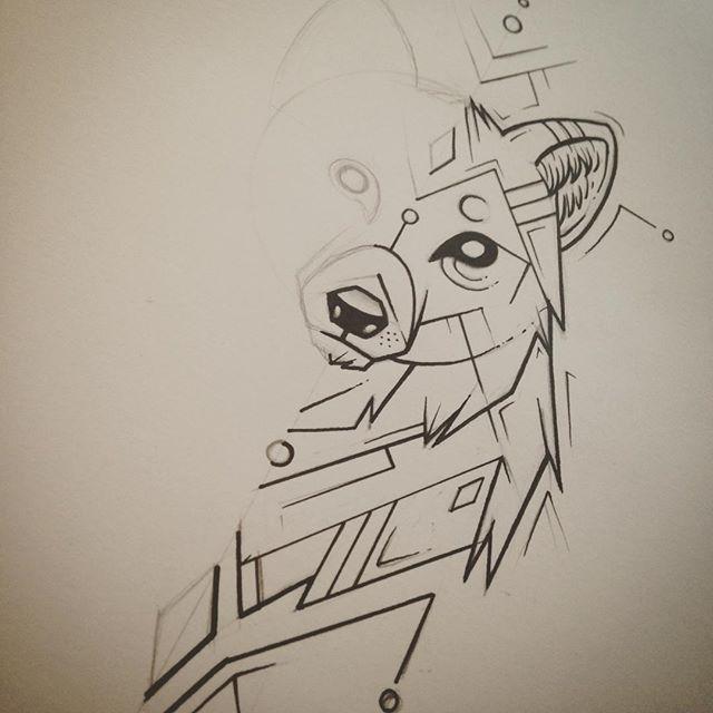 WIP wolfy. #wolf #geometric #tattoodesign #drawing #illustration