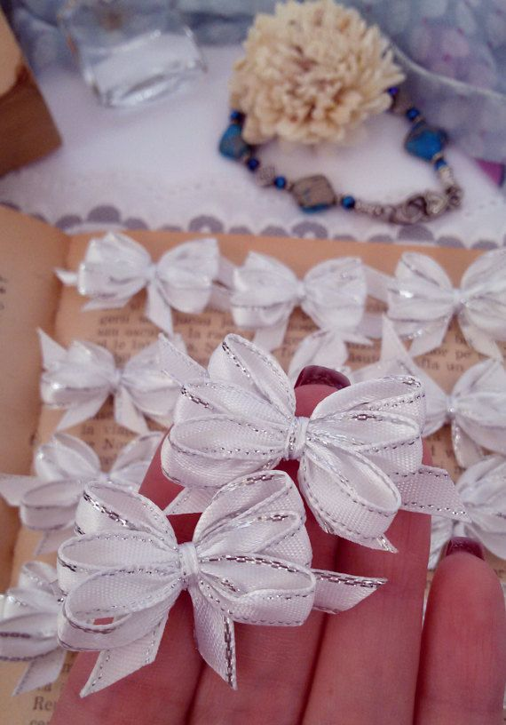 White applique bows satin ribbon bows ribbon bows by Rocreanique on Etsy