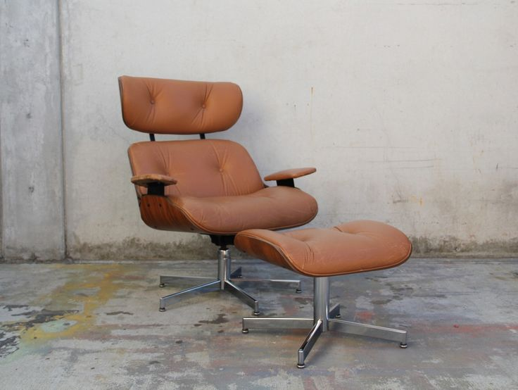 Tan Leather Selig Plycraft Eames Style Lounge Chair And Ottoman