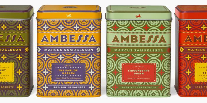 Ambessa -Ethiopian for lion- is a new line of imported teas for chef Marcus Samuelsson, designed by the super-talented, Louise Fili.: Chef Marcus, Teas Tins, Louise Fili, Marcus Samuelsson, Packaging Design, Teas Packaging, Ambessa Ethiopian, Important Teas, Louis Fili