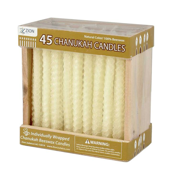 Beeswax Honeycomb Hanukkah Candles in Wooden Crate (45 Pack)