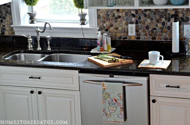 kitchen with az faux beams stone backsplash clean