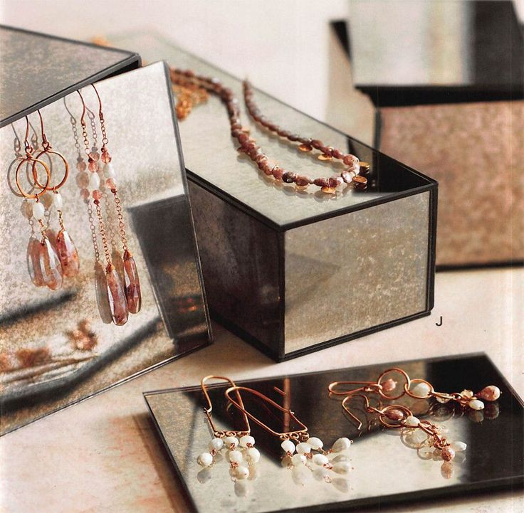 $188.00 Roost Arte Mirrored Jewelry Boxes - Set Of 5