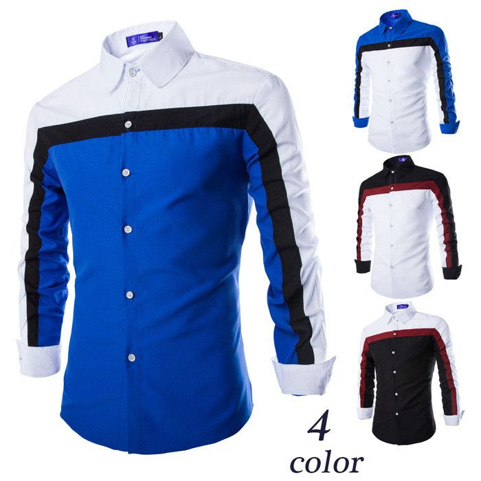 Type: Casual Style European Sleeve: Long Sleeve Collar: Turn Down Material: Cotton, Polyester Colors: White/Blue, Blue, White/Black, Black