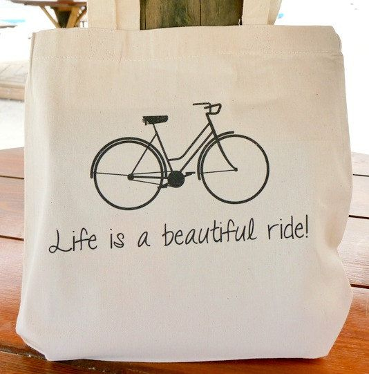 Canvas Tote Bag  Life is a Beautiful Ride by HandmadeandCraft