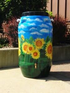 One of the decorated rain barrels auctioned off at a First Friday event.